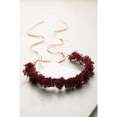 Anthropologie Audrey Flower Crown Headband (£63) ❤ liked on Polyvore featuring accessories, hair accessories, wine, headband hair accessories, flower headbands, flower garland headband, flower crown and metal hair accessories