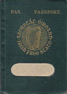 Irish Free State Passport with prominent harp and Irish script inspired lettering.