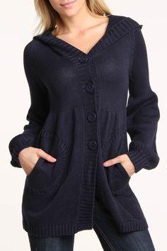 Shae Lainey Long Sleeve Cardigan In Midnight
