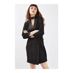 Topshop Tie Side Blazer Dress ($69) ❤ liked on Polyvore featuring dresses, black, blazer dress, tailored dresses, fitted dresses, side tie dress and oversized dress