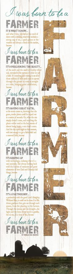 MA864 - BEST SELLER!!! Born to be a Farmer saying with farm and barn silhouette / Textured, finished wall decor ready to hang by Marla Rae