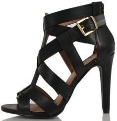 Fashion Bug Wonmens Faux Leather Open Toe Thick Strap High Heel www.fashionbug.us
