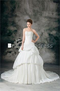 A-Line Soft Sweetheart Court Train Taffeta Most Beautiful Wedding Dresses