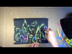 This video will show you how to create a simple yet extremely fun skyline drawing using chalk and construction paper. Paper Child, Pastel Artwork, Kids Activities At Home, Skyline Art, Ecole Art, Chalk Drawings, Art Lessons Elementary, City Landscape, Chalk Pastels