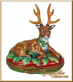 Rudolph The Red-Nosed Reindeer Limoges Box by Beauchamp, www.LimogesBoxCol..., Limoges Box Specialists, Christmas Limoges boxes, Holiday Limoges boxes, porcelain trinket boxes, gifts for her, Holiday gifts, Limoges collectibles