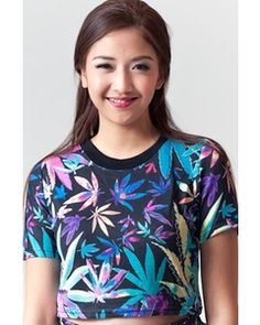 WAGW Cropped graphic tee, Weed
