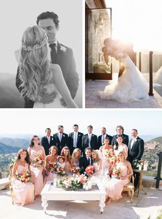 Pink bridal party offset by deeper colored flowers