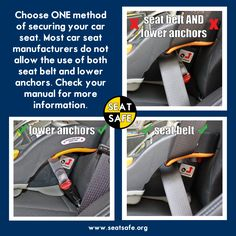 Car Seat Safety lower anchors or seat belt