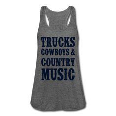 BLACK GLITZ PRINT! Trucks Cowboys And Country Music, Women's Flowy Tank Top by Bella