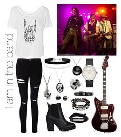 """I am the band"" by ralucastephany ❤ liked on Polyvore featuring Miss Selfridge, Kenneth Cole, Valentino, West Coast Jewelry, Black Pearl, Bling Jewelry, bandtshirt and bandtee"