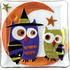 fused glass halloween owls
