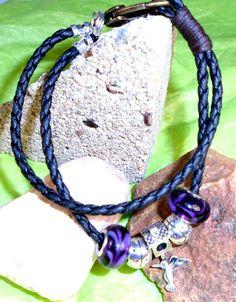 9 double strand black braided leather bracelet by ScottysDesign