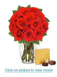 valentines day flower delivery one dozen red roses with chocolates free vase included