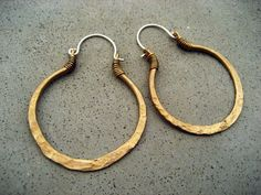 Golden Hoop Earrings, Medium Size, Mixed Metal, Sterling Silver Ear Wire, Hip, Ethnic, Gypsy, Metalsmith Jewelry via Etsy