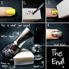 Nail Wish: Glitter Sponging Tutorial - how to get a glitter nail without having to apply too many coats of polish. No more thick glitter nails!