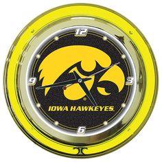 Trademark Commerce IA1400 University of Iowa Neon Clock - 14 inch Diameter