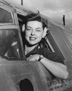 Elizabeth L. Gardner WASP (Women's Airforce Service Pilot) at the controls of a B-26 Marauder. 1942-44