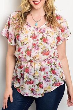 "Spring into this floral woven top! Features floral print all over a sexy exposed back with lace center panel and has a blouson bodice.  Description: L: 28"" B: 32"" W: 40""  Ivory Floral Plus by C.O.C.. Clothing - Tops - Blouses & Shirts Texas"