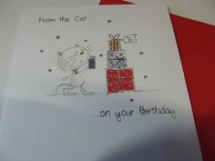 "Lovely ""From The Cat On Your Birthday"" Greetings Card.Free P&P.."