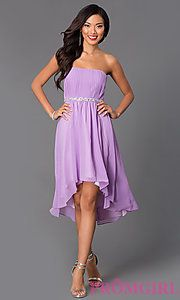 Buy High Low Strapless Dress 8626 at PromGirl