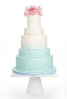 Peony Chevron Wedding Cake by concepcion