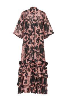 Pink Concrete Dress Black Flowers, Travel Wardrobe, Shirt Sleeves, Ruffles, Concrete, Short Sleeve Dresses, Shirt Dress, Floral, Pink