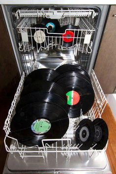 """- Vinyl Records going for a different kind of """"Spin"""" in the Dishwasher for Cleaning - #Music #Records #Vinyl #Cleaning #Dishwasher http://www.pinterest.com/TheHitman14/for-the-record/"""