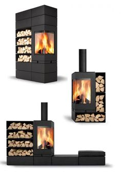 Skantherm is a family company founded over 30 years ago in Germany and continues to lead international design for fuel efficient, designer wood fireplaces. Modern Stone Fireplace, Stone Fireplace Designs, Home Fireplace, Modern Fireplaces, Fireplace Ideas, Focus Fireplaces, Wood Burner, Wood Design, Cabana