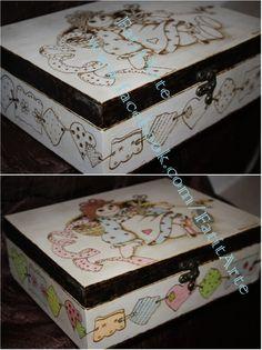 Caixa de costura, em madeira pirogravada. www.Facebook.com/FatitArte