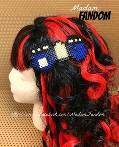 Tardis Hair Bow Clip Perler Beads by MadamFandom on etsy http://www.facebook.com/madamfandom
