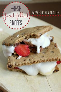 Fresh Fruit-Filled S'mores. A fresh twist on a classic summer-treat. Who doesn't love fruit + chocolate?! Use homemade graham crackers and marshmallows to really amp up the fresh-factor. // Happy Food Healthy Life