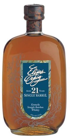 Elijah Craig 21 Years Old Single Barrel Kentuck Strength Bourbon Whiskey Good Whiskey, Cigars And Whiskey, Scotch Whiskey, Bourbon Whiskey, Bourbon Cocktails, Irish Whiskey, Single Barrel Bourbon, Whiskey Brands, Best Bourbons