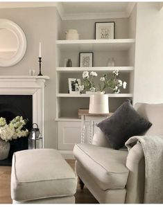 Cosy Grey Living Room, Cute Living Room, Open Plan Kitchen Living Room, Cottage Living Rooms, New Living Room, My New Room, Apartment Living, Home And Living, Living Room Decor Fireplace