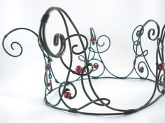 Swirled  Black Filigree Full Size Crown in Red  by angelyques, $65.00