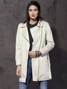 Buy Roadster Women Off White Solid Jacket - Jackets for Women | Myntra