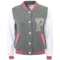Pauls Boutique Varsity Sweat Jacket (1,040 MXN) ❤ liked on Polyvore featuring outerwear, jackets, tops, varsity jackets, shirts, women, pauls boutique jacket, letterman jackets, varsity bomber jacket and collar jacket