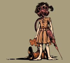 Little girl with gas mask