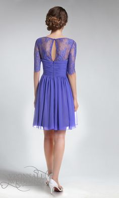 Charming Illusion Neckline Short Lace and Chiffon Dress With Sleeves 2 Purple Lace Bridesmaid Dresses, Bridesmaids, Chiffon Dresses With Sleeves, Short Dresses, Prom Dresses, Wedding Dresses, Bridal Lace Fabric, Evening Dresses Online, Illusion Neckline