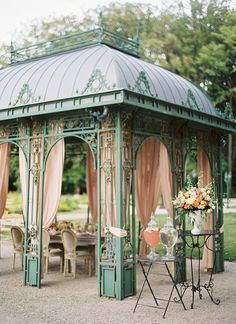 Elegant Wedding Reception Under a Draped Pavilion | Peaches & Mint Photography | A Blooming Spring Wedding full of Lush Flowers in Peach and Fresh Green - http://heyweddinglady.com/blooming-spring-wedding-full-of-lush-flowers/