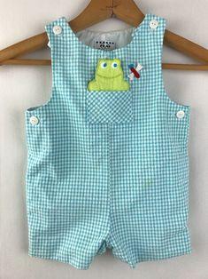 26406b85dfb6 Details about Vintage Baby Boy Eiseman Gingham Blue Frog John Jon Romper  Shortall Size 12 Mo