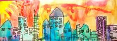 Hot/Cold Cityscape...The students and I started off this lesson by looking at different cities skylines - things they noticed: buildings, windows, doors, cars, lights, sky, squares, rectangles, each city looks different - the students adding stores and places they have been
