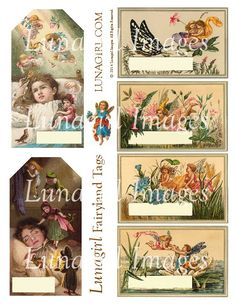 NEW at Lunagirl.com! Fairyland Tags Victorian Images Digital Collage Sheet