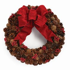 Charlton Home Highly structured and full of holiday cheer, this Cardinal Pine Cone Wreath is a solid choice for any setting. Pine Cone Art, Pine Cone Crafts, Pine Cones, Pine Cone Wreath, Pinecone Garland, Grapevine Wreath, Pre Lit Wreath, Diy Wreath, Wreath Making
