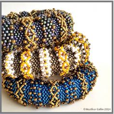 These Big and beautiful, Tubular Peyote Cuffs have huge impact on your wrist, wear two or three at a time. Make them bright and colorful or subdued with gold highlights.