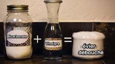 Pour déboucher les canalisations intérieures : 200 g bicarbonate + 20 cl vinaigre blanc + 200 g sel + 1 bassine d'eau bouillante