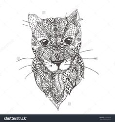 Hand Drawn Leopard With Ethnic Floral Doodle Pattern Coloring Page