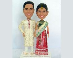 Indian wedding cake toppers Traditional Hindu attire cake topper