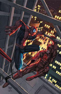 Spiderman vs Daredevil by Roger Cruz Comic Book Characters, Comic Book Heroes, Marvel Characters, Comic Character, Comic Books Art, Hq Marvel, Marvel Comics Art, Marvel Heroes, Ghost Rider