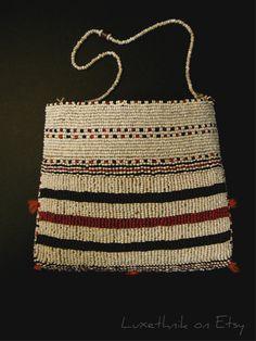SOLD. Striking Vintage Indonesian Tribal Batak Hand Beaded by Luxethnik, $475.00