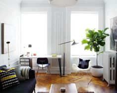 "The fiddle leaf fig tree (or fiddle-leaf fig) is this year's ""it"" house plant. Here are tips to care for a fiddle leaf fig. Fig Leaf Tree, Fiddle Leaf Fig Tree, Interior Exterior, Tree Interior, Interior Architecture, Living Room Inspiration, Little Houses, Small Houses, Decoration"